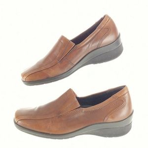 Ecco Womens 5 5.5 Loafers Brown Leather Slip On